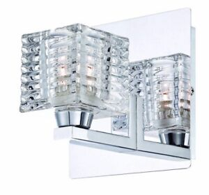 Hampton Bay Olivet 1-Light Chrome Sconce with Cube Glass Shade