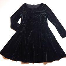 Marks & Spencer Black Velvet Sparkly Dress Size 10 Petite Party Evening Xmas