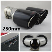 """Glossy Real Carbon Fiber ID:3.0"""" OD:4.0"""" Car Dual Pipe Exhaust Tail Muffler Tip"""