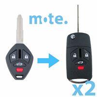 2 x Mitsubishi 380 2005 - 2008 Remote Flip Key Blank Replacement Shell/Case/Fob