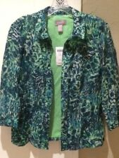 Chico's Blue Flight Sparrows 3/4 Pattern Amazonite Jacket Multicolor Size 1 NWT