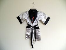 Thai Silk-Blend Child's Robe Kimono Silver Reversible Dragon/Unisex - S (New)