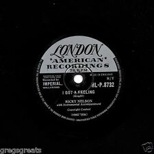 1958 No.9 RICKY NELSON RnR 78  SOMEDAY / I GOT A FEELING  LONDON HLP 8732 EX-/V+