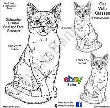 Cat With Glasses Decals, 5 Inch, 4 Count. Ahead Graphics