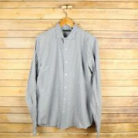 THEORY Men's Long Sleeve Button Front Collared Shirt L Large Blue Check
