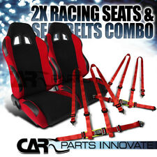 T-R Black Red Cloth PVC Reclinable Racing Bucket Seats Pair w/Red Belt Harness