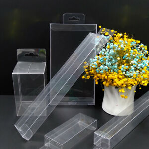 25PCS PVC Boxes With Hang Hole Clear Plastic Shop Display Storage Packaging Box