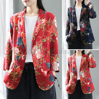 ZANZEA Women Vintage Floral Blazer Cardigan Button Coat Casual Outwear Jacket US
