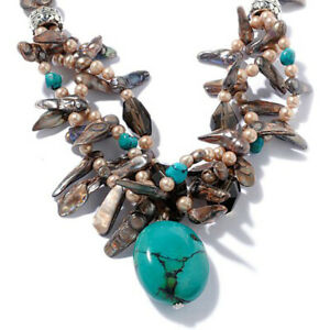HSN Deb Guyot Designs Turquoise Drop & Cultured Pearl Sterling Necklace17