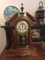"Antique Working 1880s NEW HAVEN ""Danube"" Victorian Walnut Parlor Mantel Clock"