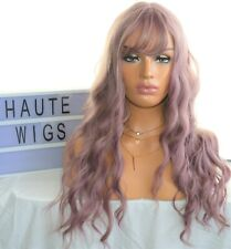 LONG WAVY WOMENS WIG LILAC PINK ROSE GOLD FRINGE BANGS CURLY WIG FULL AMAZING