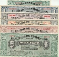 Mexico: Set of 6 Collection El Estado de Chihuahua Feb 10, 1914 UNC.