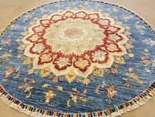 "Masterpiece Vintage 1980-1990s Natural Dyes,Wool Pile 5'7""×5'7"" Round Oushak Rug"