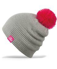 NWT GIRLS DAKINE WENDY BEANIE Grey Pink POM POM snowboard ski gloves