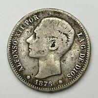 Dated : 1876 - Silver Coin - Spain - Una Peseta - 1 Peseta - Alfonso XII