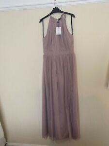 BNWT asos/little mistress size 14 bridesmaid dress in mink