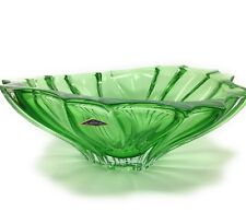 """Crystal Glass  Bowl 12"""" for Sweets Fruits Candy Green color Bohemian Crystal"""