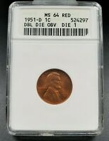 1951 D Lincoln Wheat Cent Penny ANACS MS64 RD FS-021.5 FS-101 DDO 001 Variety
