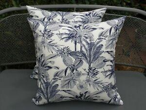 Outdoor Blue OffWhite Gray Tropical Hawaiian Palm Cushion Cover 45cm Au Made