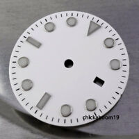 31.3MM White Sterile Watch Dial Luminous Mark Date Fit Miyota 8215 8205 Movement