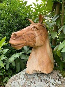 Pferdekopf Teakholz Unikat Statue Holz Deko Büste