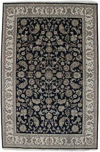 Brand New Navy Floral Style 6X9 Indo-Nain Hand Knotted Oriental Rug Decor Carpet