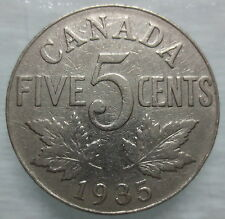 1935 CANADA 5¢ KING GEORGE V NICKEL COIN