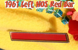Corvette 1961 Left Drivers  NOS side Bar GM Emblem Red Badge Side Cove Area