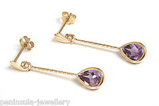 9ct Gold Amethyst Teardrop Earrings Made in UK Gift Boxed