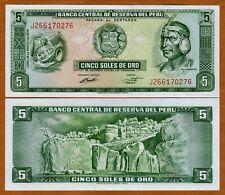 Peru, 5 Soles De Oro, 1974, P-99 (99c), UNC > Inca Warrior