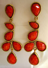 Amrita Singh 18KGP 'Sunset' Dangle Earrings Coral Haze, Turquoise, Ruby, White
