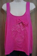 Jenni Sleepwear Sz S Fuchsia Pink Sequin Skull & Bow Cotton Pajama Tank Top