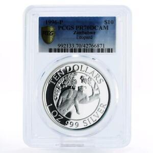 Zimbabwe 10 dollars Wildlife Landmarks Leopard PR70 PCGS proof silver coin 1996