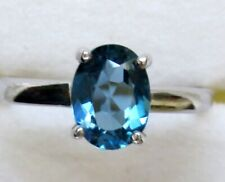 London Blue Topaz Solitaire Ring  / size 8 / 925 Sterling Silver, 1.6 cts