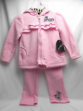 New XOXO Pink Leopard Accents Hooded Jump Suit/Sweat Suit 4T Top & Bottom