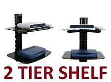 2 LAYER SHELF AUDIO VIDEO WALL STAND HD TV MOUNT WII PS3 PS4 XBOX BLU-RAY LED 3D