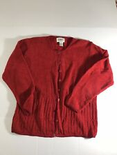 Jenny Woman Size L Sweater Cardigan Red Button Front Soft Material