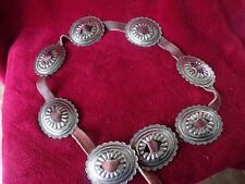 "Handmade Leather Belt W/ Silver Plates 44"" Long"