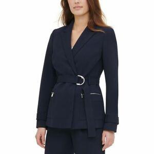 CALVIN KLEIN NEW Women's Blue Belted Peak-lapel Wrap Blazer Jacket Top S TEDO