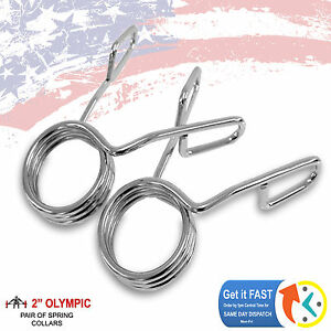 """Heavy Duty Barbell Olympic 2-Inch Spring Clip 2"""" Dumbbell Collars - One Pair"""