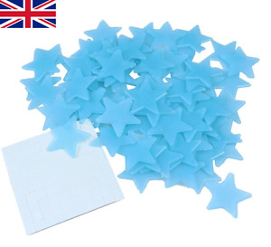 100 BLUE Glow In The Dark 3cm Stars Luminous Stick On Space Ceiling Wall Sticker