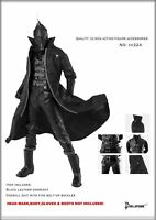 "1/6 Clothing Male Black Leather Overcoat & Bodysuit Full Set for 12"" Hottoys Toy"