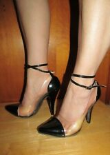Wild Rose Women's 5 1/2 Sexy Black Patent & Clear pumps with wrap around strap