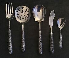 "Antique Sterling ""Repousse"" 1930's GH French Floral Serving Set"