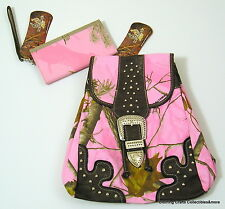 Realtree AP Pink Camo Fashion Backpack and Wallet Western Style Purse Bag New