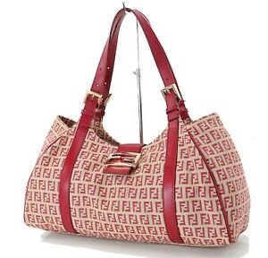 Authentic FENDI Red Zucca Canvas and Leather Tote Shoulder Bag Purse #36129