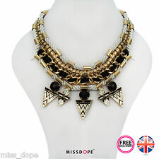 NEW Statement Gold Necklace Womens Tribal Aztec Bib Egyptian Spikes Ladies UK