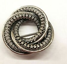 * VINTAGE * STERLING SILVER * DANECRAFT * DOUBLE CIRCLE *  PIN -  BROOCH *