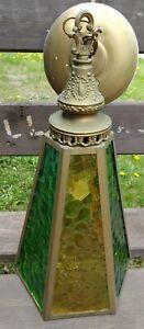 Vntg Antique Victorian Brass & Colored Glass Light, Green & Amber, Paneled, Beau