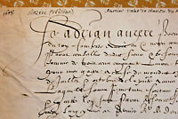 1608 Henry IV king first valet autograph letter  parchment medieval gothic calli